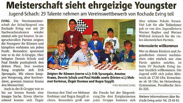 Jugend-Vereinsmeisterschaft 2015 Presse
